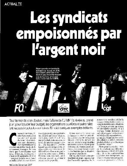 Les Syndicats empoisonnés par l'argent noir : article de CAPITAL du 01-12-07