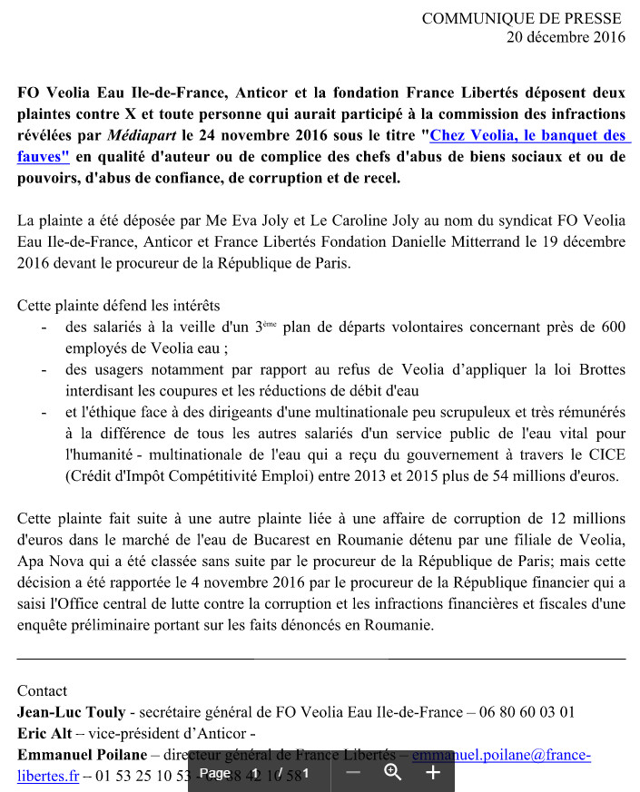Communiqué de presse de FO Veolia Eau IdF Anticor France Libertés Fondation Danielle Mitterrand