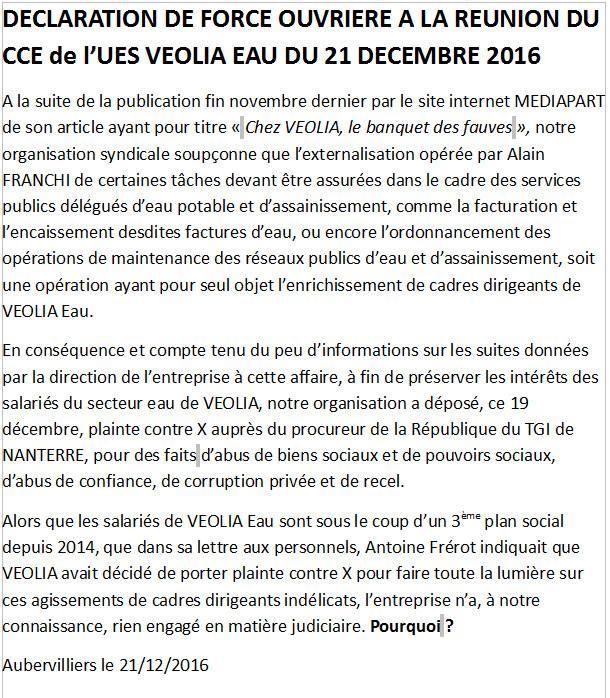 Déclaration FO au CCE Veolia Eau du 21 décembre 2016 et Lettre A du 22 décembre 2016