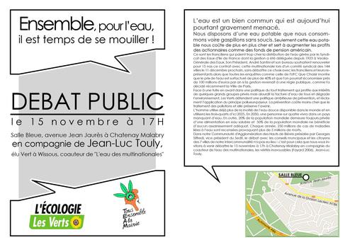Réunion publique sur l'eau et l'assainissement au niveau de la CAHB à Chatenay Malabry le 15 novembre 17h