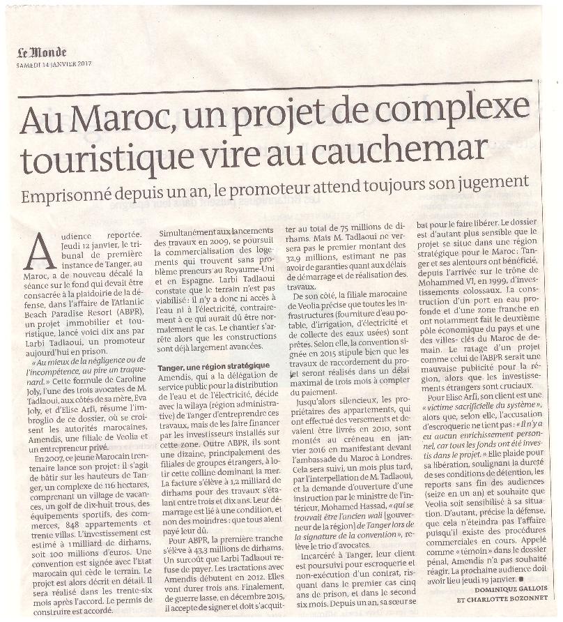 Le Monde du 14 janvier 2017 : Au Maroc, un projet de complexe touristique vire au cauchemar