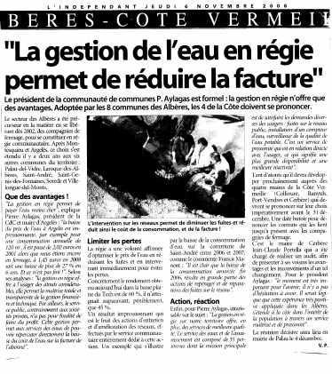 Beres Côte Vermeille : La gestion de l'eau en régie permet de réduire la facture