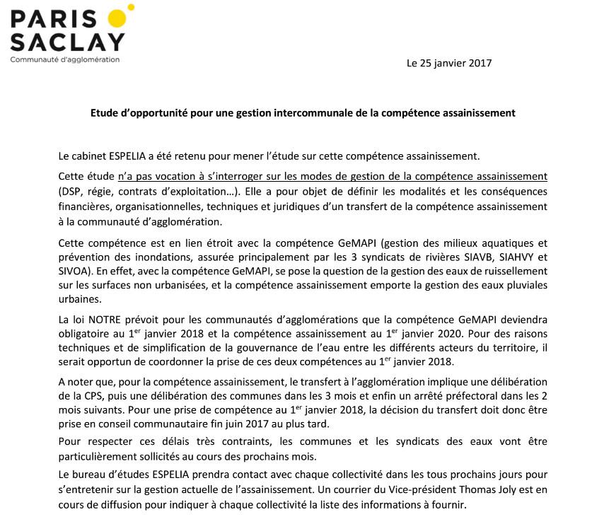 Lancement de l'étude assainissement confiée à Espelia (très favorable au privé) pour une prise de compétence eau et assainissement par la Communauté d'Agglo Paris Saclay le 1.01.2018 et décision au plus tard dans 5 mois : cela sent l'arnaque !!!
