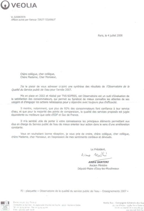 Lettre envoyée aux 143 élus du SEDIF au nom de M. Santini président du SEDIF, à l'entête de la multinationale VEOLIA