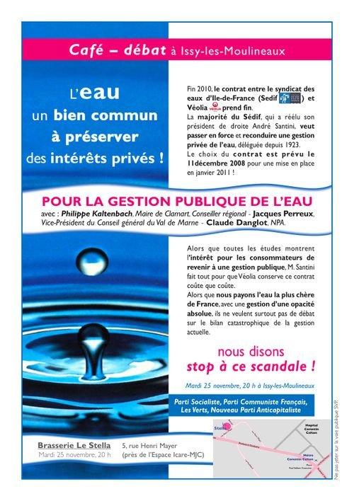 Guerre déclarée  et front uni contre la privatisation des services de l'eau à Issy