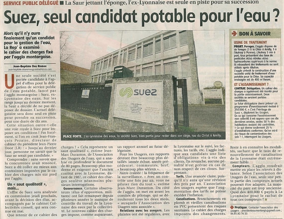 La Nouvelle République 10 mars 2017 : DSP Eau de l'agglo de Montargis et un seul candidat le sortant Suez !!!