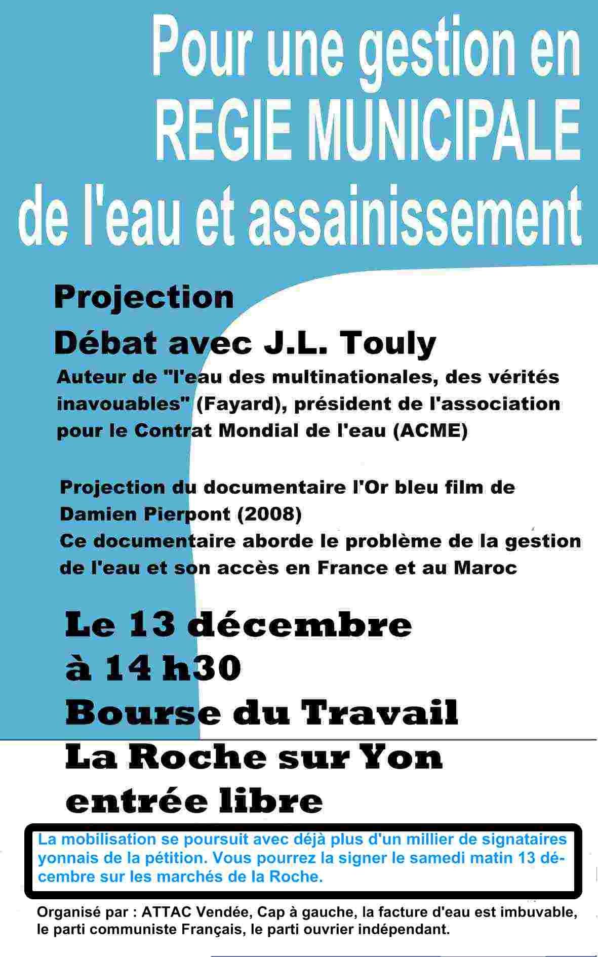 Débat public sur la gestion de l'eau à la Roche sur Yon samedi 13 décembre
