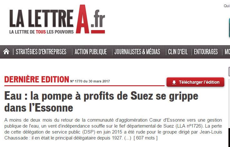 Lettre A 30 mars 2017 : Paris Saclay : Eau : la pompe à profits de Suez se grippe dans l'Essonne