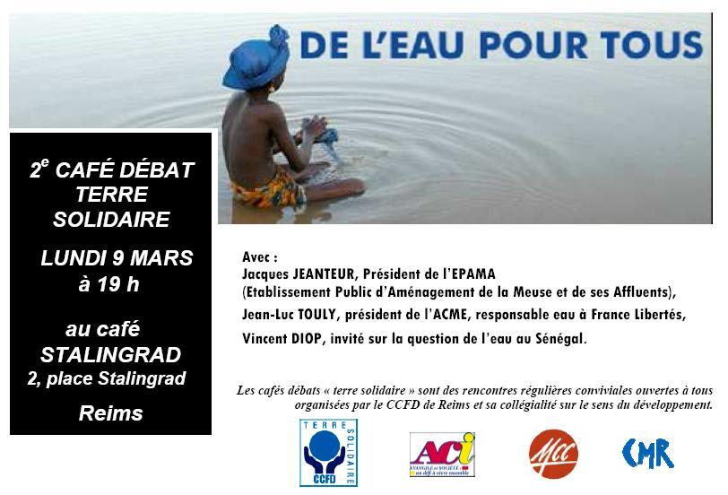Café débat gestion de l'eau CCFD à Reims le 9 mars 19h