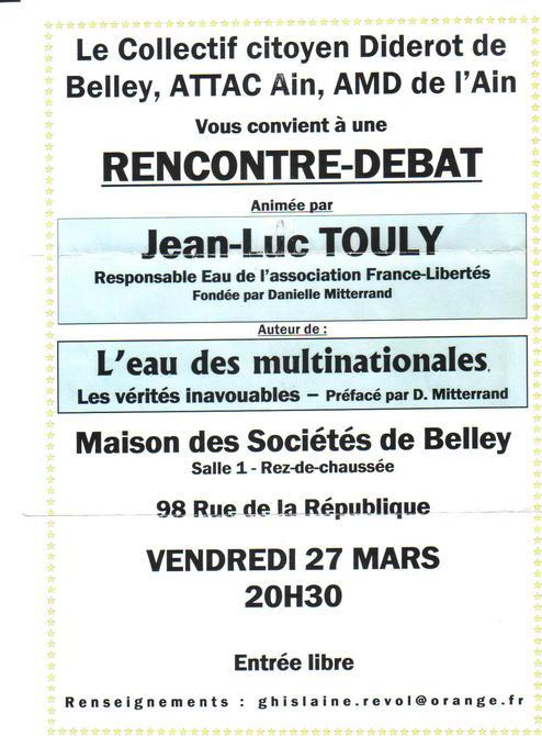 Réunion débat à Belley dans l'Ain 27 mars 20h30 organisée par les Amis du Monde Diplo et Attac et le Collectif citoyen diderot