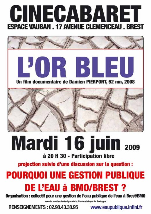 Pour une gestion publique de l'eau à Brest  avec la diffusion du film l'or bleu en préambule