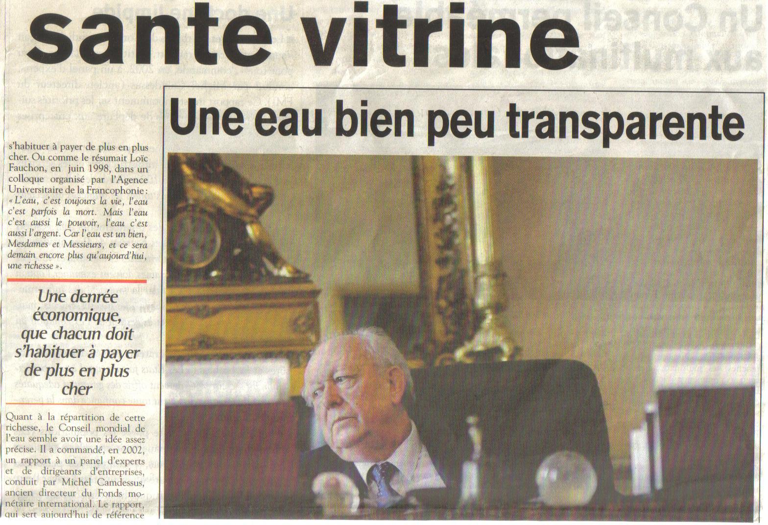 Dans la Tribune du Sud de Marseille : le conseil mondial de l'eau perméable aux multinationales