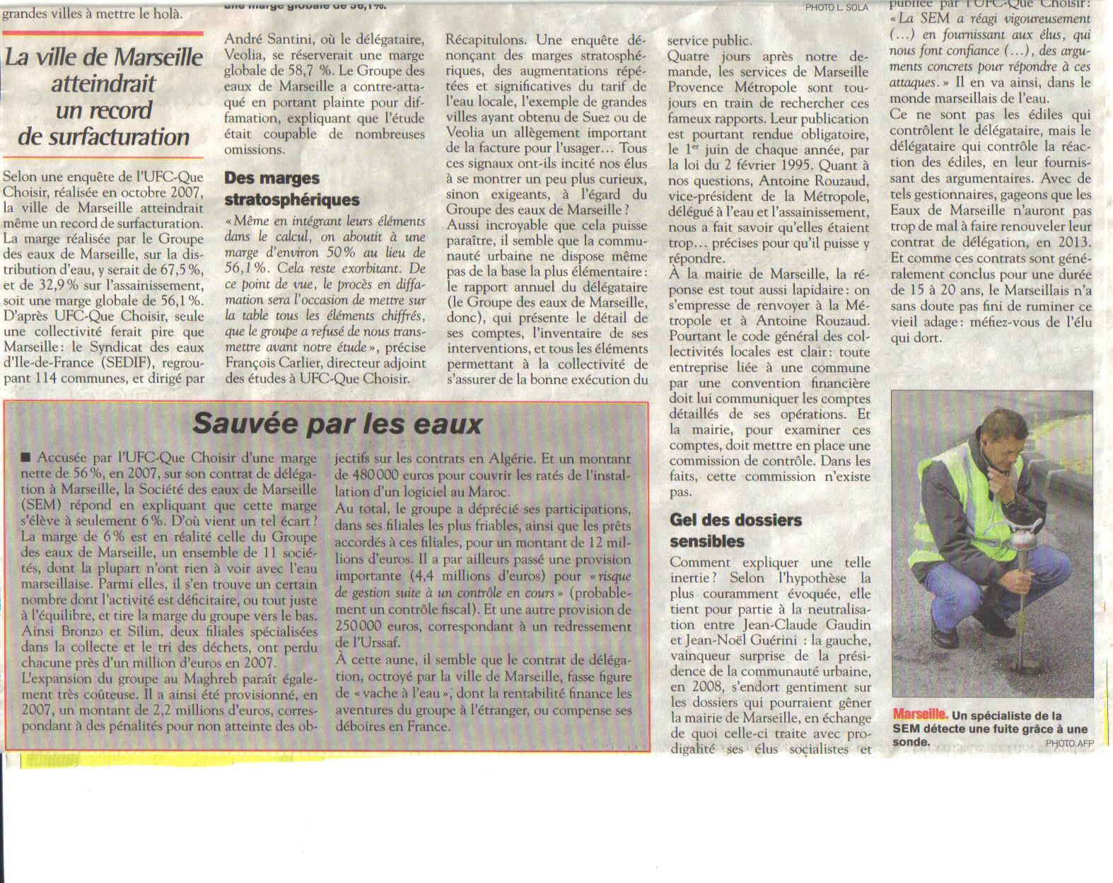 Marseille : suites de la Tribune du Sud