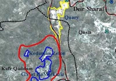 Extrait de la carte d'ARIJ - en bleu : la colonie de Qedumin,