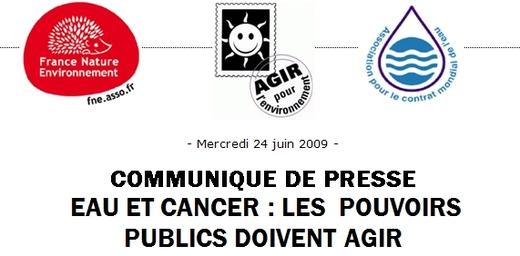 COMMUNIQUE DE PRESSE EAU ET CANCER : LES  POUVOIRS PUBLICS DOIVENT AGIR
