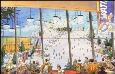 au restaurant, vue des pistes de Ski Dubai