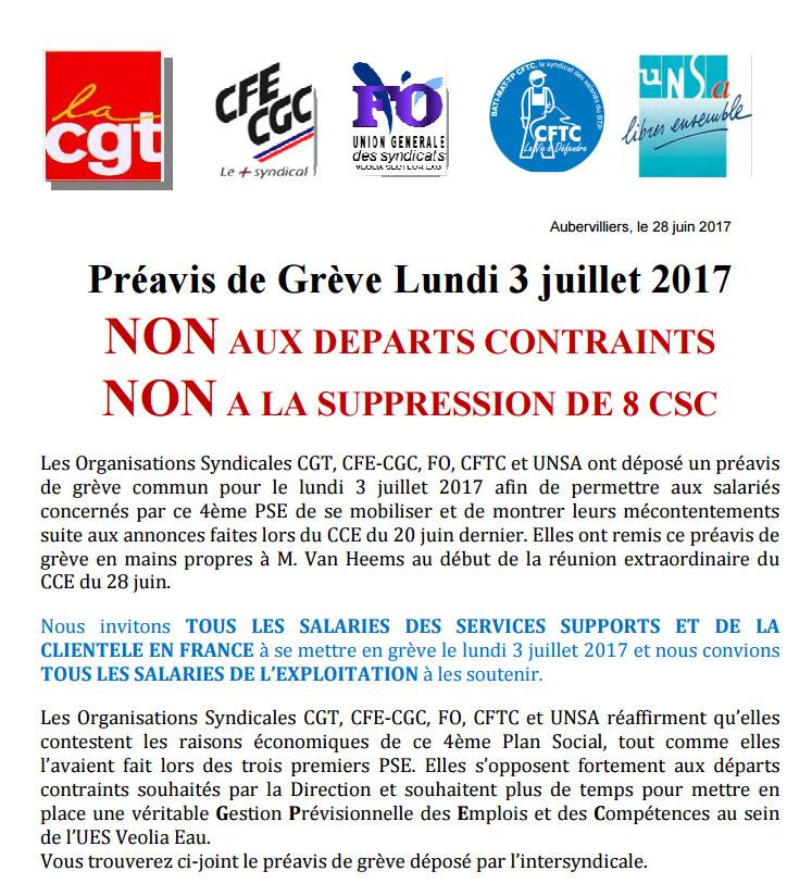 Préavis de Grève pour le lundi 3 juillet 2017 chez Veolia Eau France suite à l'annonce de la Direction de 572 suppressions d'emplois y compris par des départs contraints et près de 1 000 mobilités géographiques et fonctionnelles