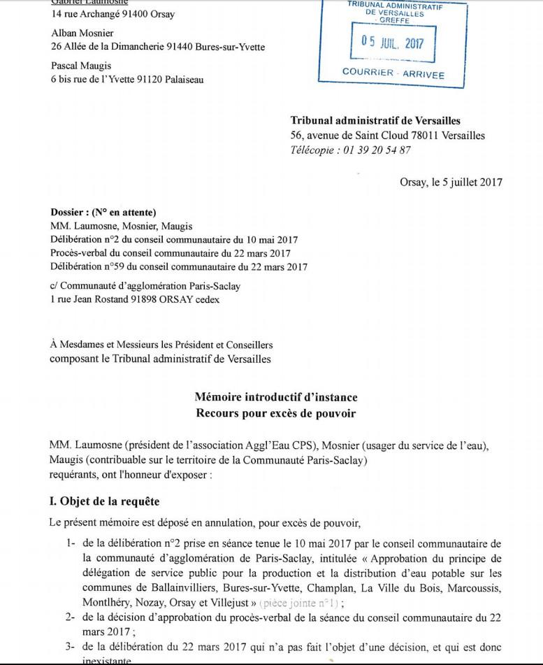 Recours pour excès de pouvoir devant le Tribunal Administratif de Versailles du 5 juillet 2017 du Collectif associatif Aggl'Eau Communauté Paris Saclay/ Communauté Paris saclay : demandes d'annulation de 3 délibérations et 1 décision du président de