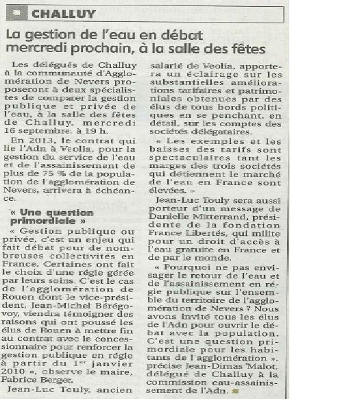 Débat public sur la gestion de l'eau de l'Agglomération de Nevers le 16septembre à 19h à Challuy