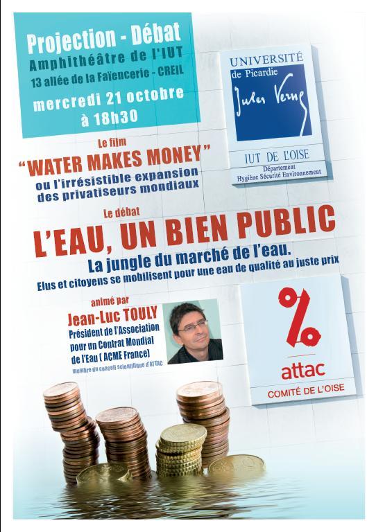 Attac Oise : débat public sur l'eau bien public à l'IUT de Creil le 21 octobre 18h30
