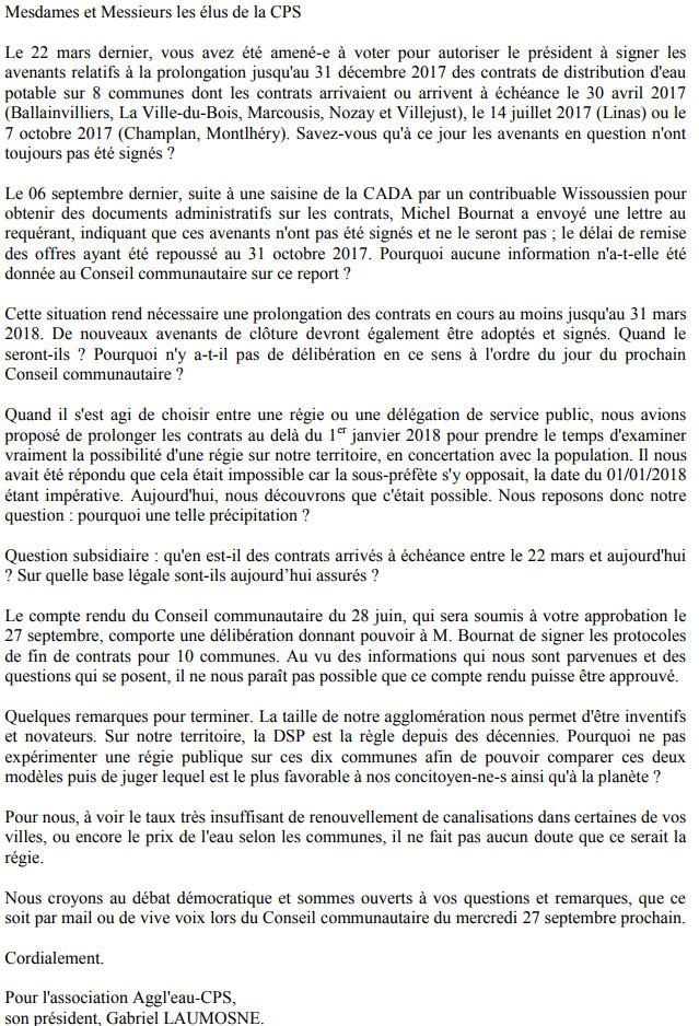 Lettre du collectif Aggl'Eau-CPS aux élu-e-s de la Communauté Paris Saclay