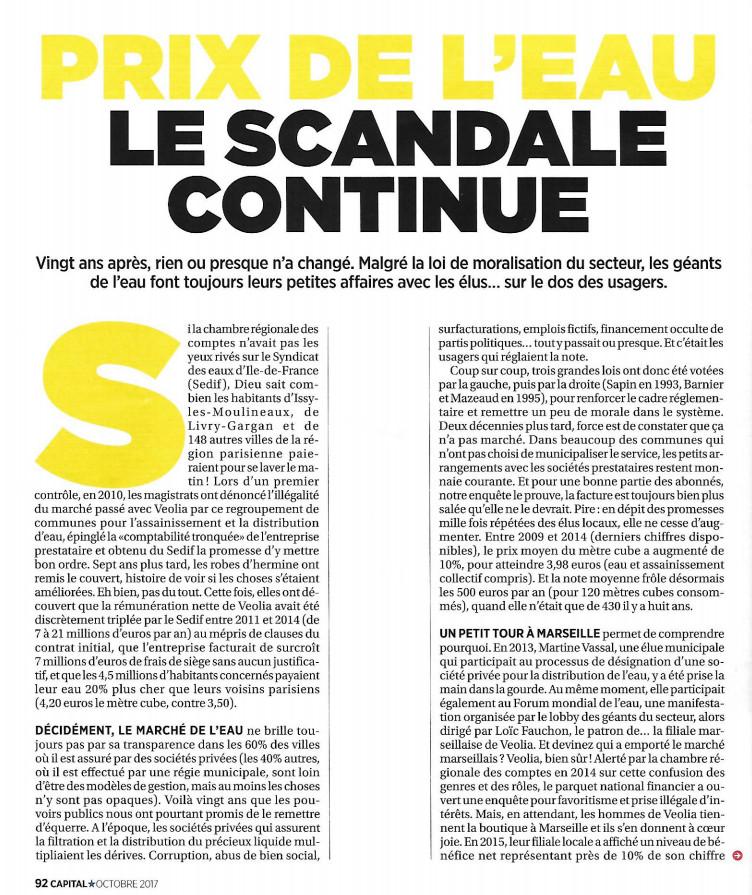 Capital octobre 2017 : Prix de l'eau : le scandale continue (les français paient de 10 à 50% en trop)