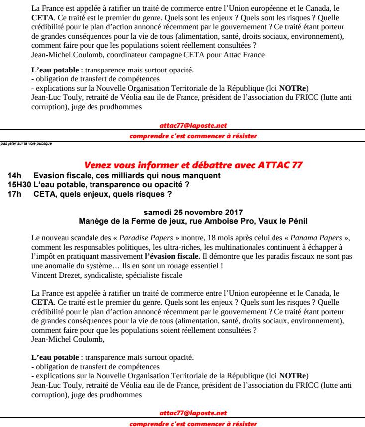 samedi 25 novembre après midi à Vaux le Pénil près de Melun (77) STOP à l'évasion fiscale, à l'opacité de la gestion de l'eau et au CETA organisé par ATTAC 77