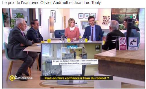 France 5 la quotidienne jeudi 8 février 12h15-12h45 : Le prix de l'eau avec Olivier Andrault UFC Que Choisir et Jean Luc Touly