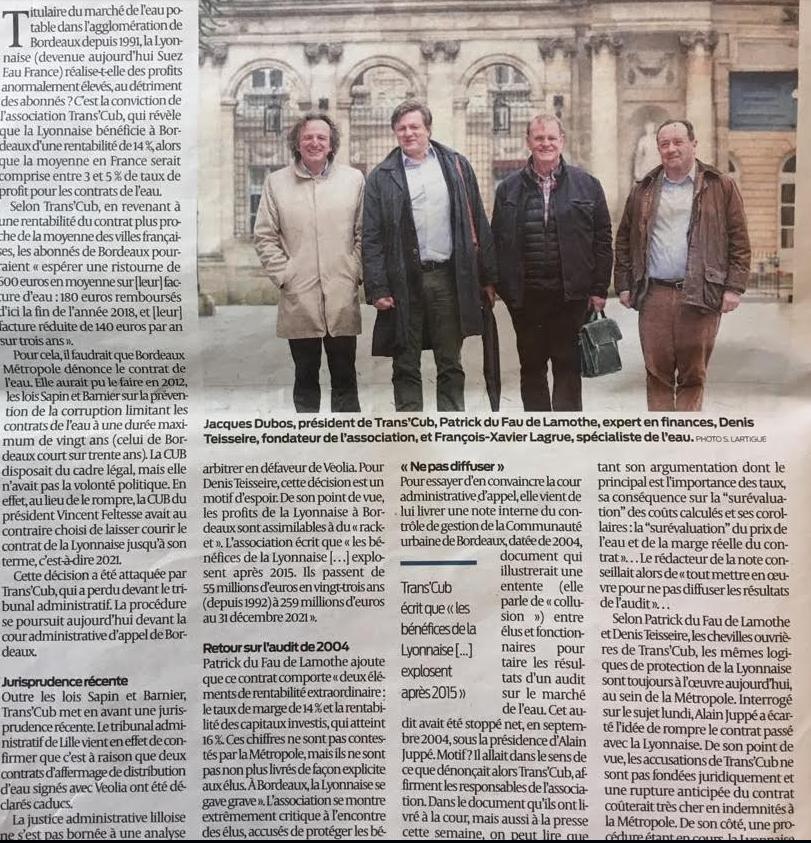 """Sud Ouest 27 mars 2018 : Bordeaux : Trans'Cub veut pousser la Lyonnaise à """"rendre"""" 600 euros à chaque abonné à l'eau"""
