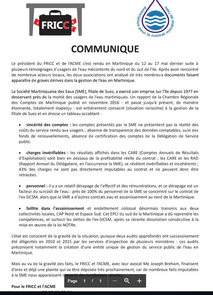 Communiqué de presse du FRICC et de l'ACME du 7 juin 2018