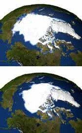 En comparaison : l'étendue des glaces de mer à l'automne 1979 (en haut) et l'étendue mesurée en septembre 2005. (AP/NASA)