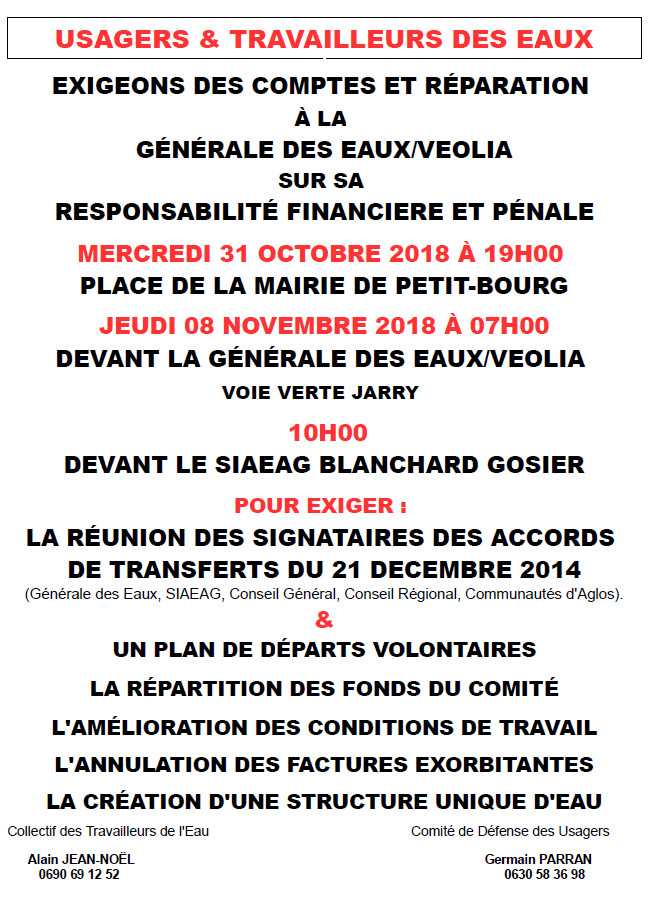MOBILISATION DES USAGERS ET TRAVAILLEURS DE L'EAU DE GUADELOUPE DU VENDREDI 31/10.2018 A 19H00 PLACE DE LA MAIRIE DE PETIT-BOURG
