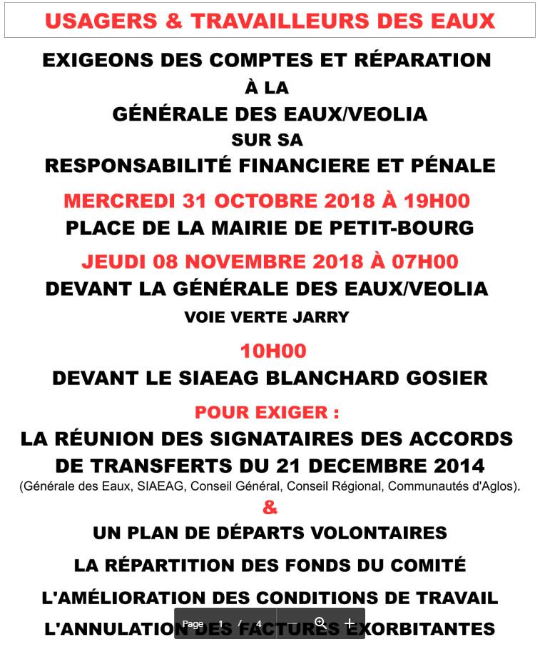 Guadeloupe : Mobilisation du collectif d'usagers et des salariés de l'eau 8 novembre 2018 7h devant la Générale des Eaux Veolia