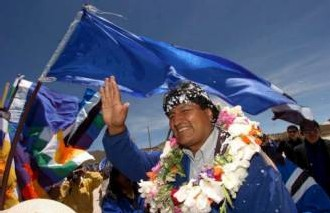 le 6 janvier 2006 : Rencontre avec Evo Morales, nouveau Président élu de la Bolivie...