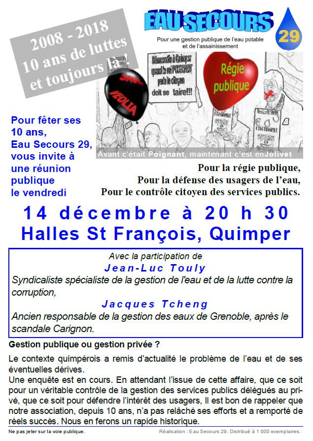 Réunion publique du 14 décembre sur la gestion de l'eau à Quimper
