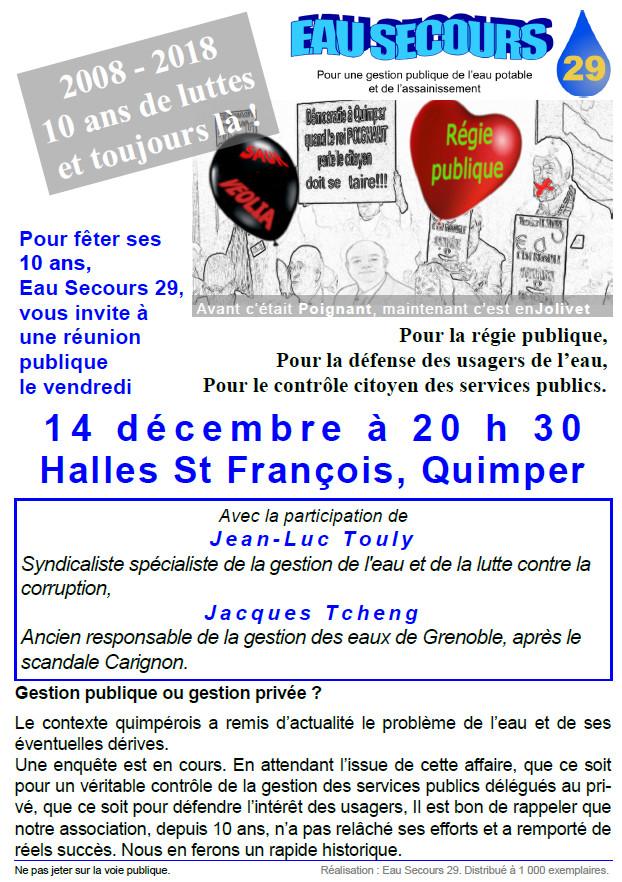 Réunion publique sur la gestion de l'eau à Quimper le 14 décembre 2018