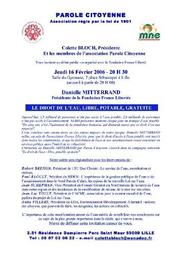 Débat public à Lille le 16 février 2006 : Le droit de l'eau avec D Mitterrand