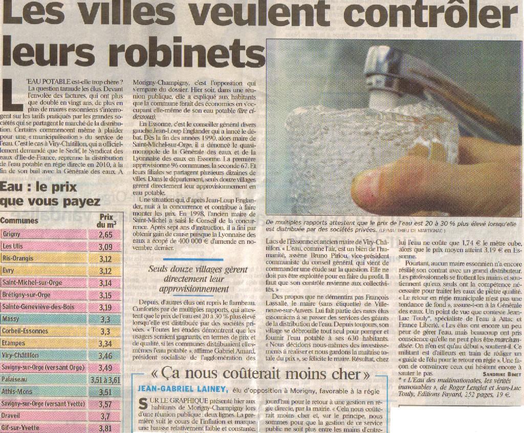 Factures : <font color='red' size=4>Les villes de l'Essonne veulent contrôler leurs robinets</font>