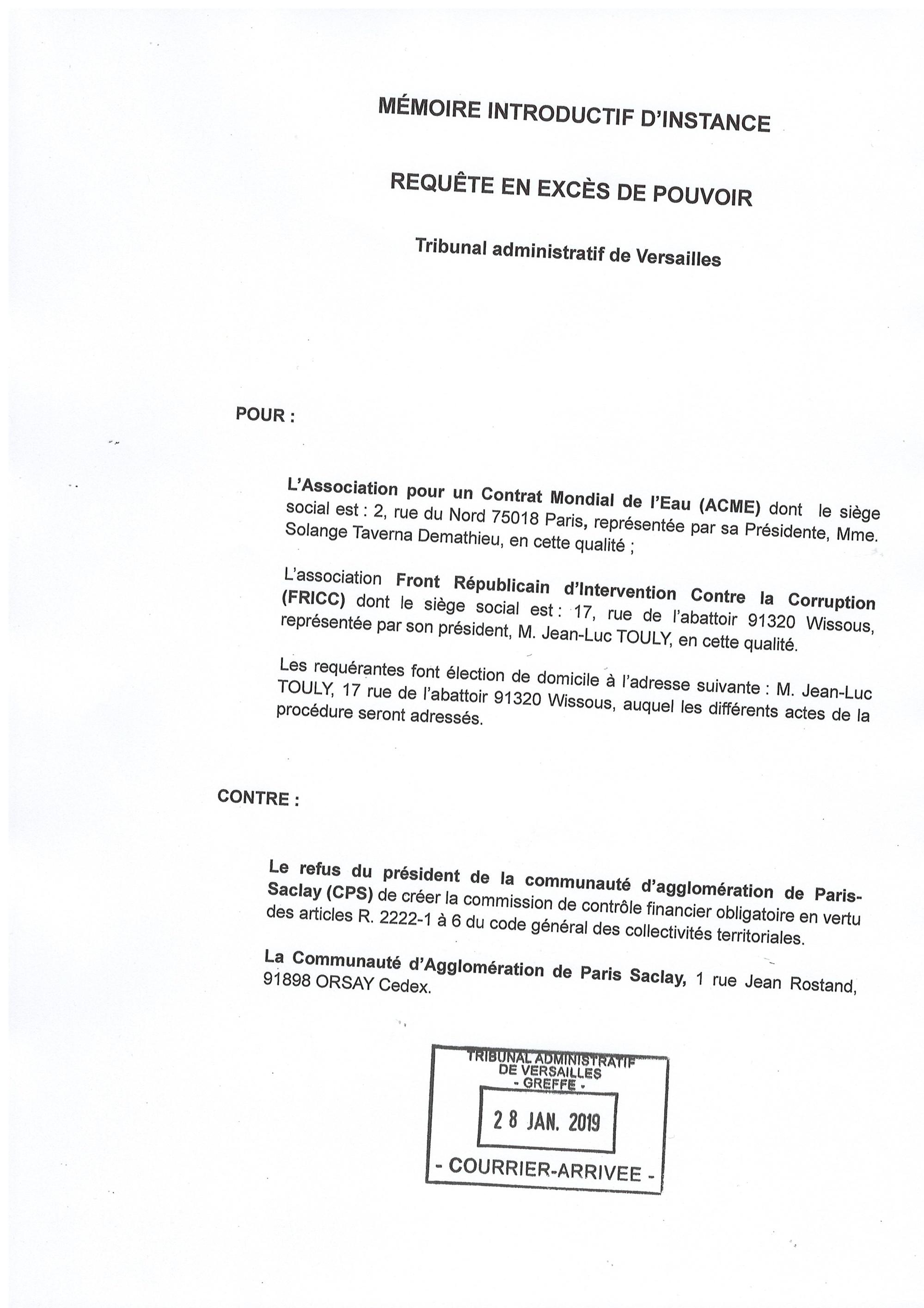 Ordre du jour du Conseil communautaire de Paris Saclay du 20 février et création de la Commission Contrôle Financier suite au recours de l'ACME et du FRICC à l'encontre du Président de Paris Saclay devant le TA de Versailles du 28 janvier 2019