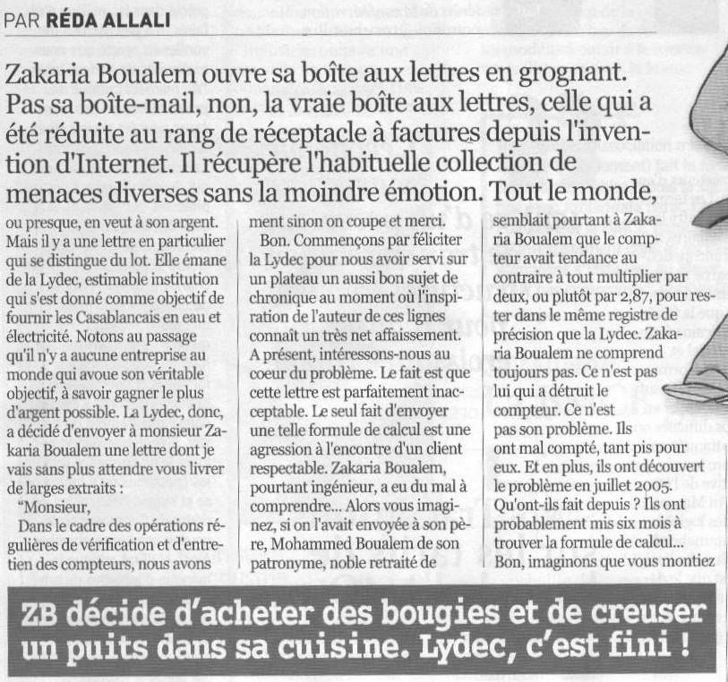 A Casablanca :  <font color='red'>la LYDEC (Lyonnaise des Eaux) a trouvé l'astuce pour augmenter la facture mais pas les tarifs</font>
