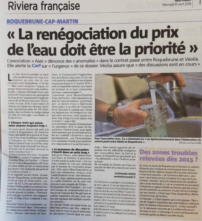 Nice matin 10 avril 2019 : Roquebrune-Cap-Martin : La renégociation du prix de l'eau doit être la priorité