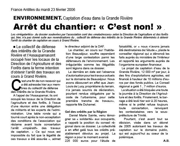 Aux Antilles: <font color='red'>Affaire d'eau de la Grande Rivière ! </font> ou chronique d'un écocide !