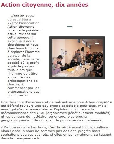 Paris Normandie : Danielle Mitterrand et JL Touly à Yvetot le 11 mars