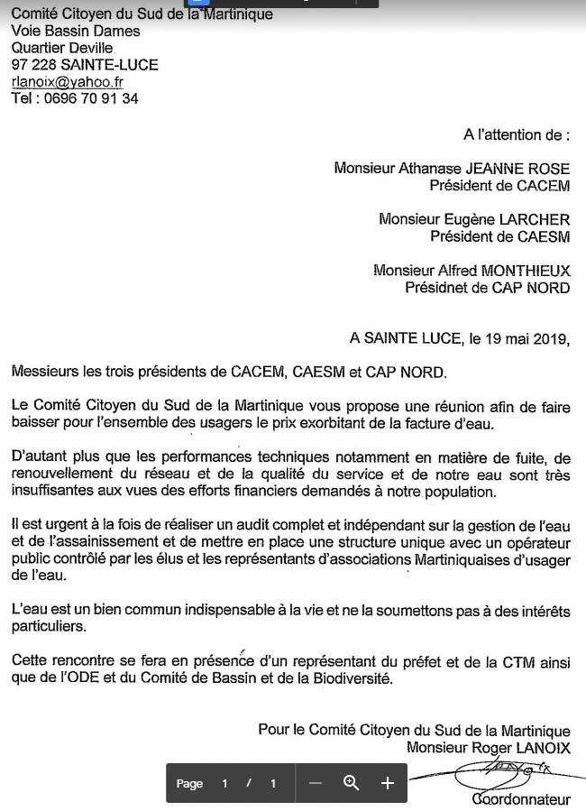 Courrier du comité sud Martinique aux 3 présidents d'EPCI