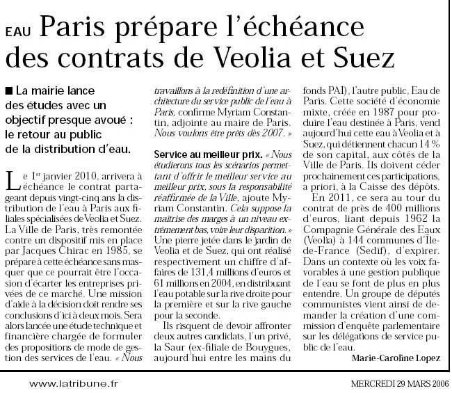 EAU <font color='red'>Paris prépare l'échéance des contrats de Veolia et Suez</font>