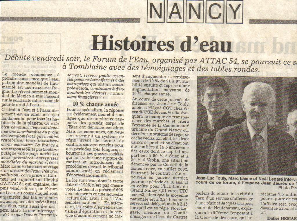 Histoires d'eau au Forum de l'Eau des 7 et 8 avril d'ATTAC 54 à Nancy