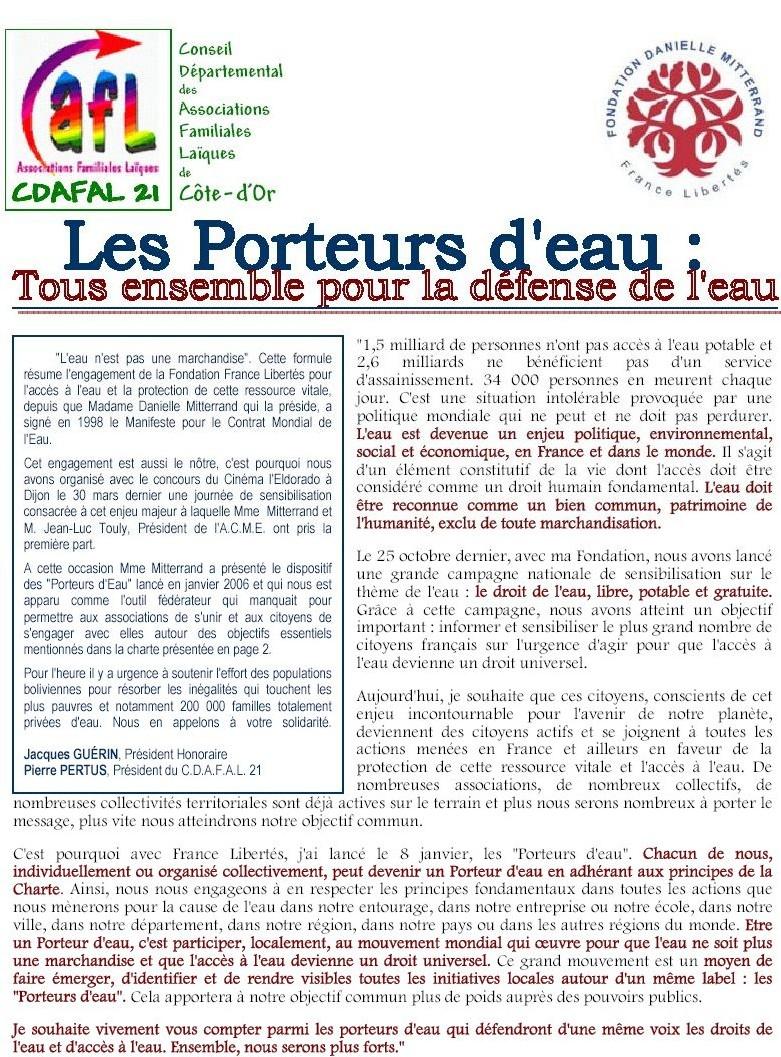 Conseil de Côte d'Or des Associations Familiales Laiques : <font color='red'>la Charte des Porteurs d'Eau</font>