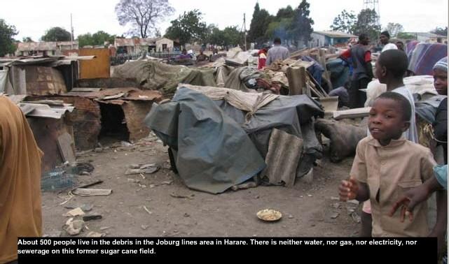 500 personnes vivent dans les détritus, sans eau, sans assainissement, sans électricité, dans les faubourgs de la capitale HARARE