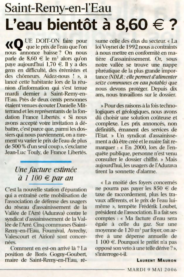 Prix de L'eau : LE PARISIEN : Saint-Rémy-En-l'Eau : <font color='red' size=5>l'eau bientôt à 8,60 euros le m3</font>