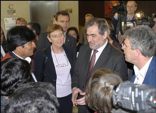 Evo Morales accueilli par le Président du Conseil Général du Val de Marne M. Favier